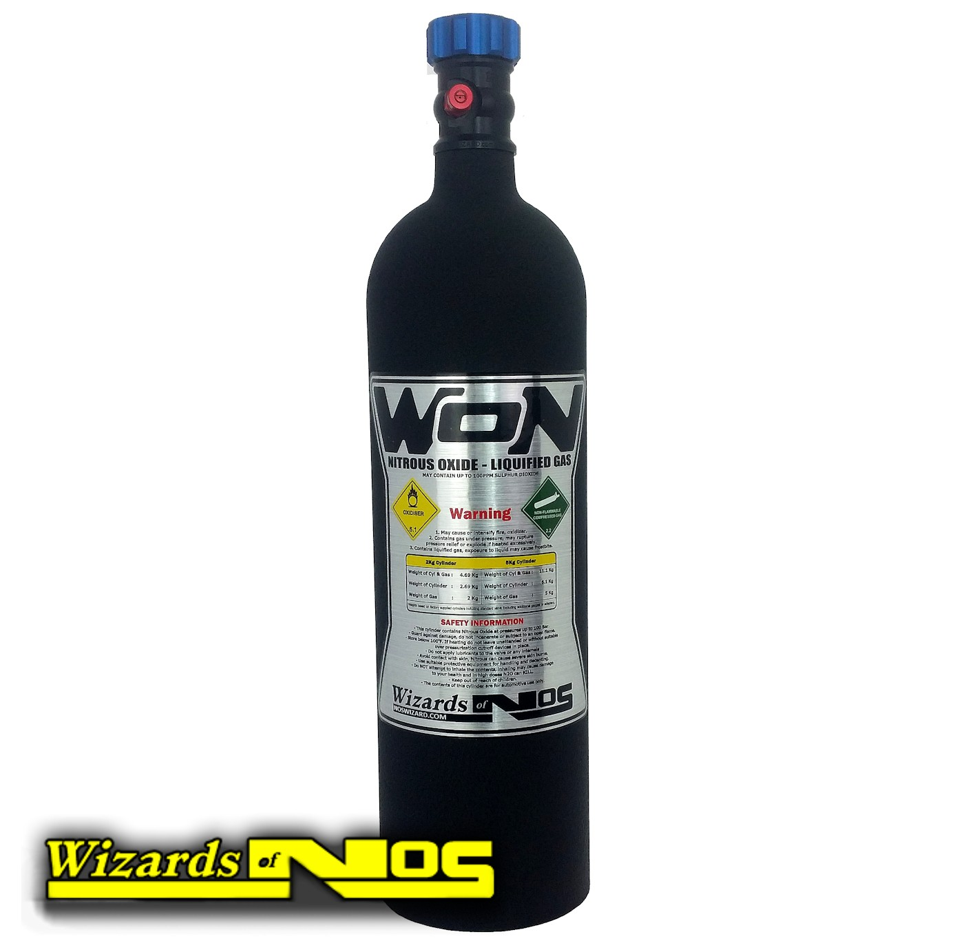 2 Kg / 5 lb Nitrous Bottle In Black Textured Finish
