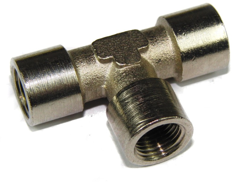 Nickel Plated Brass Nitrous T Piece 1/8 BSP (x3)